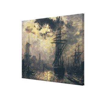 Vista del puerto, o los molinoes de viento adentro impresión de lienzo