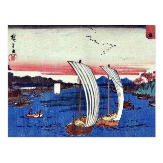 Vista del río de Sumida por Ando, Hiroshige Ukiyoe Postales