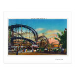 Vista del roller coaster del ciclón # 1 postal