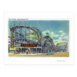 Vista del roller coaster del ciclón # 2 tarjeta postal