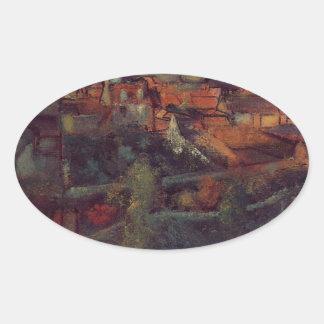 Vista del Saint-Valery-sur-Somme de Edgar Degas Pegatina Ovalada