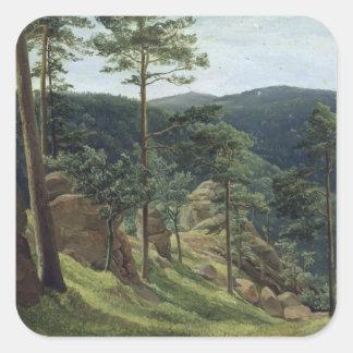 Vista del soporte Brocken, 1829 Pegatina Cuadrada