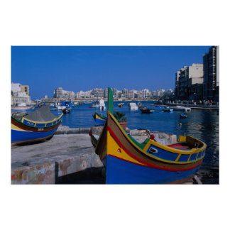 Vista del St. juliana, Malta Posters