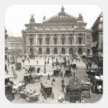 Vista del teatro de la ópera de París, 1890-99 Pegatina Cuadrada