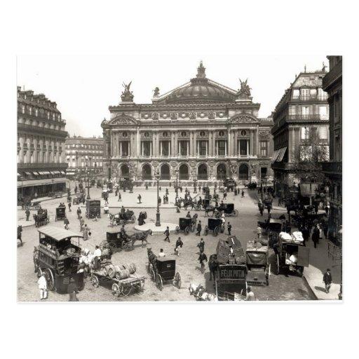 Vista del teatro de la ópera de París, 1890-99 Postales