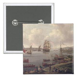 Vista del Thames, 1761 Pin Cuadrado
