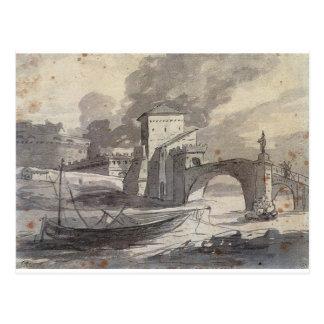 Vista del Tíber y del St. Ángel de Castel de Tarjetas Postales