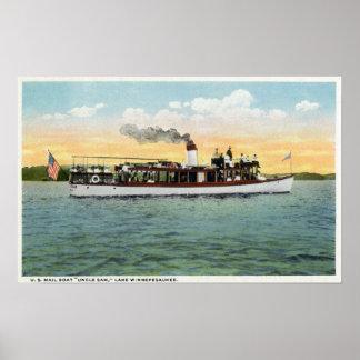 Vista del tío Sam del barco de correo de los E.E.U Póster