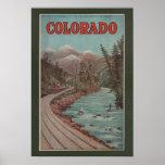 Vista del tren junto al río - poster del viaje