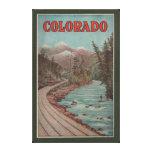 Vista del tren junto al río - poster del viaje impresiones en lona estiradas