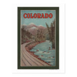 Vista del tren junto al río - poster del viaje tarjetas postales