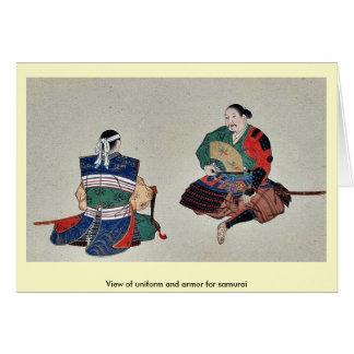 Vista del uniforme y de la armadura para el samura tarjetón