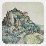 Vista del valle de Arco en el Tyrol, 1495 Calcomanias Cuadradas