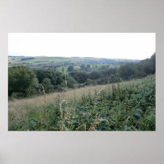 Vista del valle de la esperanza, valles de Derbysh Póster