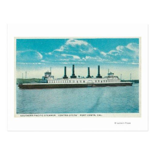 Vista del vapor del SP contra la costa de Tarjetas Postales