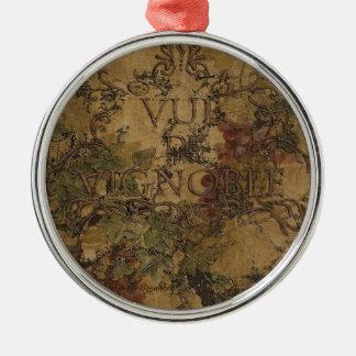 Vista del viñedo (Vue de Vignoble) Adorno Redondo Plateado