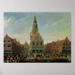 Vista del Weighhouse y del mercado del queso Poster