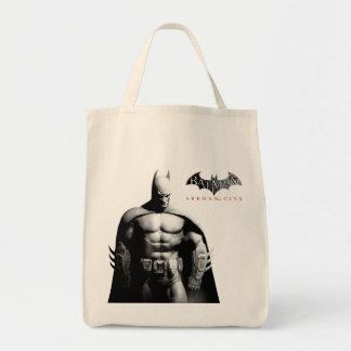 Vista delantera B/W de Batman Bolsa Tela Para La Compra