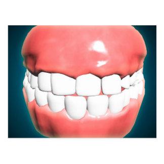 Vista delantera de la boca humana con los dientes postal