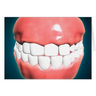 Vista delantera de la boca humana con los dientes tarjeta de felicitación