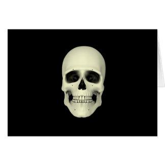 Vista delantera del cráneo humano tarjeta de felicitación