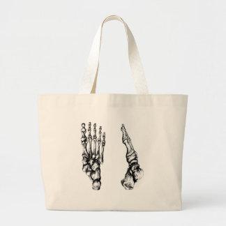 Vista delantera y lateral de los huesos de los pie bolsas de mano