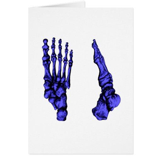 Vista delantera y lateral de los huesos de los pie tarjeta de felicitación