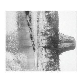 Vista distante de la torre del diablo con agua en lona estirada galerías
