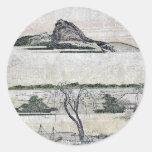 Vista distante verdadera de la montaña Ukiyo-e de Etiquetas Redondas