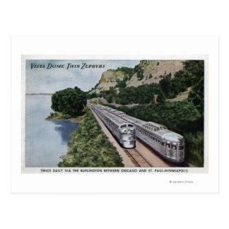 Vista Dome Twin Zephers Railroad Postcard