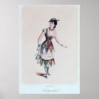 Vista el diseño para un harlequin femenino, c.1880 poster