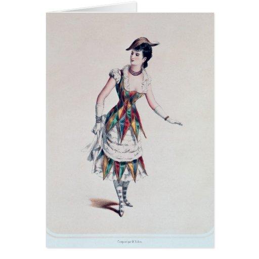 Vista el diseño para un harlequin femenino, c.1880 felicitación