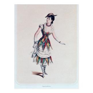 Vista el diseño para un harlequin femenino, c.1880 tarjeta postal