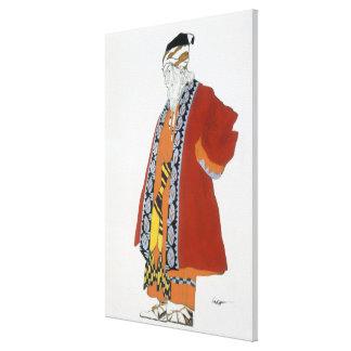 Vista el diseño para un viejo hombre en una capa d impresion de lienzo