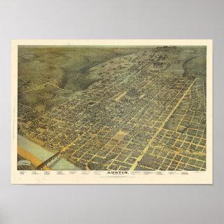 Vista elevada de Austin en 1887 Posters