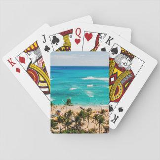 Vista elevada de la escena de la playa de Waikiki, Cartas De Póquer