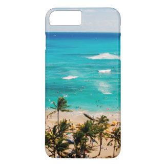 Vista elevada de la escena de la playa de Waikiki, Funda iPhone 7 Plus