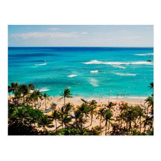 Vista elevada de la escena de la playa de Waikiki, Postal