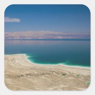Vista elevada del mar muerto pegatina cuadrada