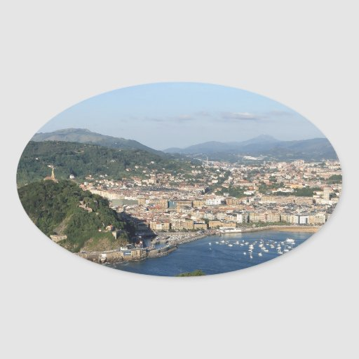 Vista escénica de San Sebastián Pegatinas Ovales