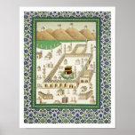 Vista esquemática de La Meca, mostrando el Qua'bah Poster