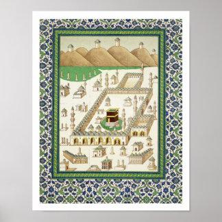 Vista esquemática de La Meca, mostrando el Qua'bah Póster
