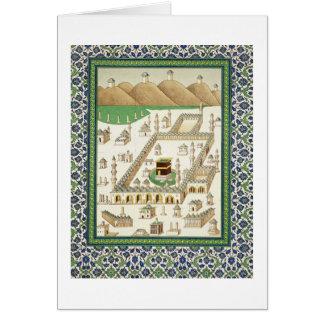 Vista esquemática de La Meca, mostrando el Qua'bah Tarjeta De Felicitación