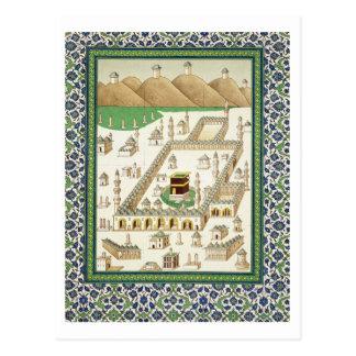 Vista esquemática de La Meca, mostrando el Tarjetas Postales