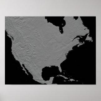 Vista estereoscópica de Norteamérica Póster