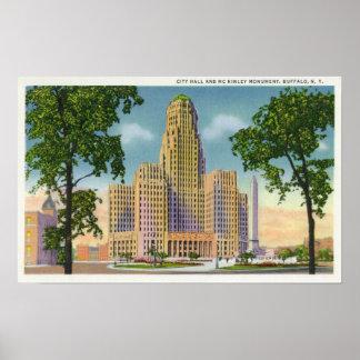 Vista exterior ayuntamiento y McKinley Posters