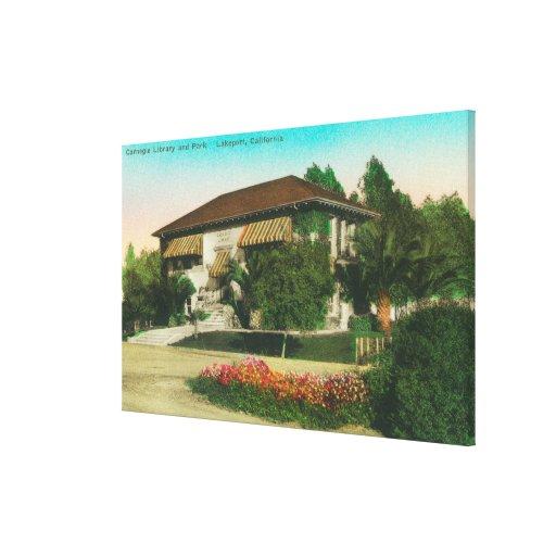 Vista exterior de Carnegie LibraryLakeport, CA Impresión De Lienzo