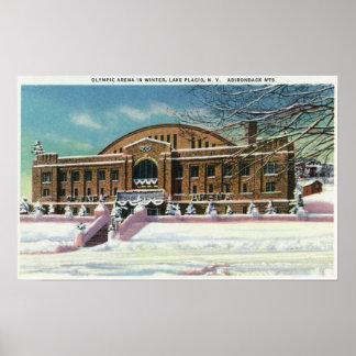 Vista exterior de la arena olímpica en invierno impresiones