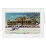 Vista exterior de la arena olímpica en invierno tarjeta