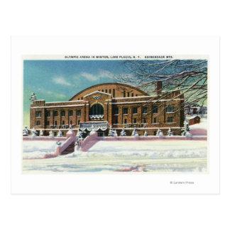 Vista exterior de la arena olímpica en invierno tarjetas postales